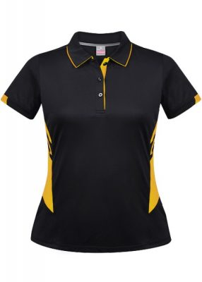 Ladies-Tasman-Polo-Black-Gold