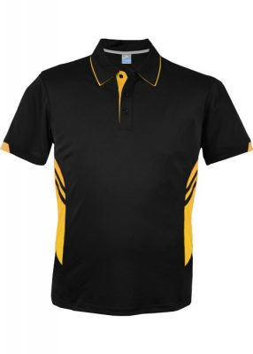 Mens-Tasman-Polo-Black-Gold